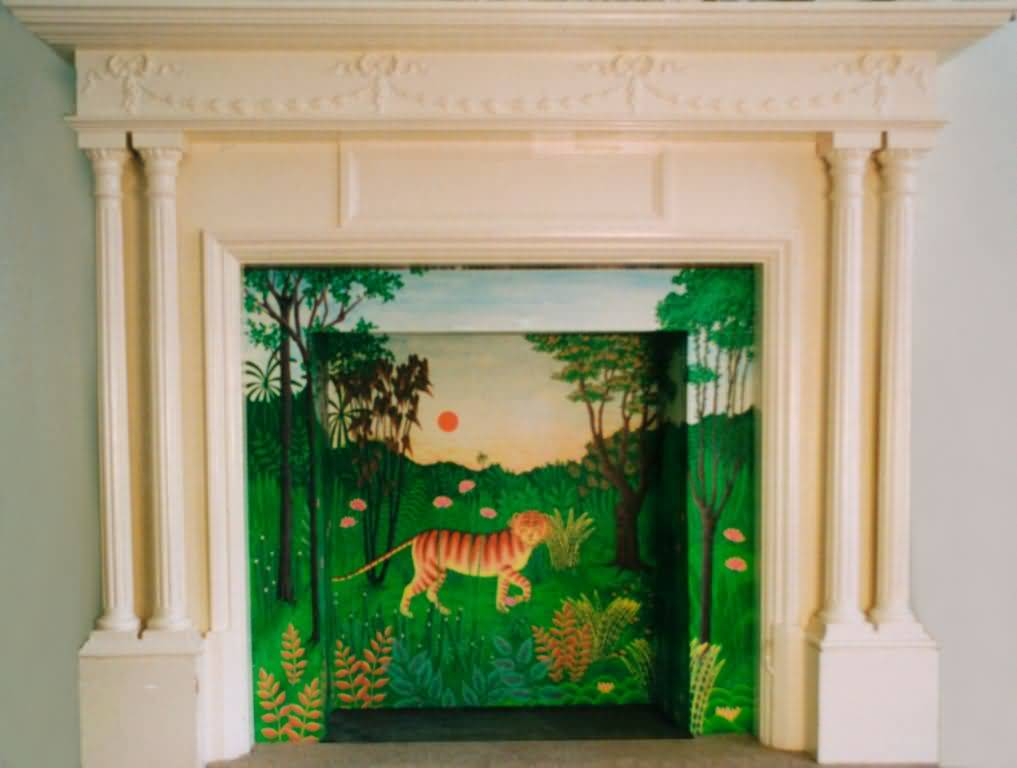 Tiger Painted in large fireplace - Using style of Rousseau