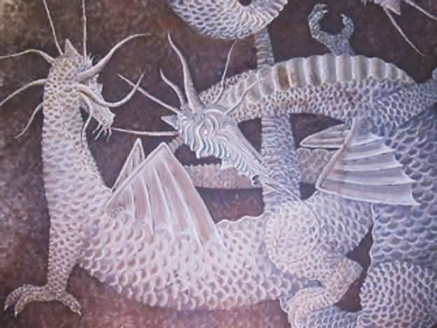 Dragon Mural (detail) - On bathroom ceiling