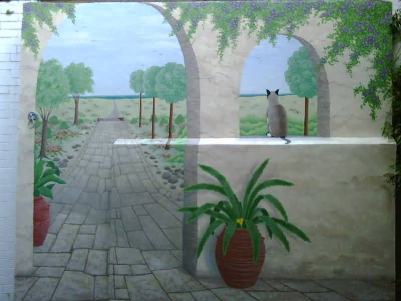 Tuscan Mural - In outside courtyard