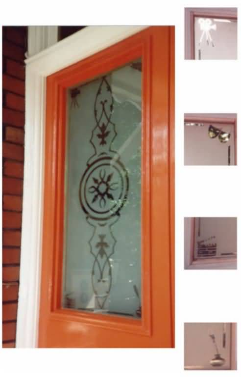 One of two sand-blasted front doors - For an actor and a film producer