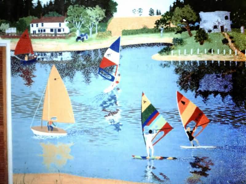 Boat Mural - Child's room. - Designed from photo of holiday home